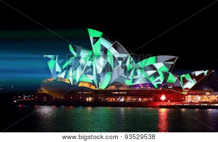 Sydney Opera House Green Geometry Patterns