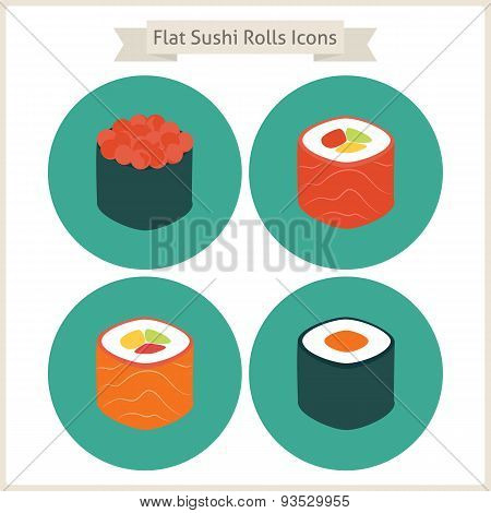 Flat Food Sushi Rolls Circle Icons Set