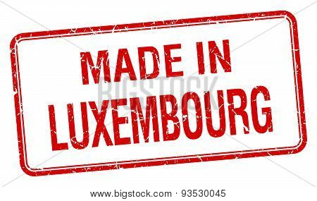 Made In Luxembourg Red Square Isolated Stamp