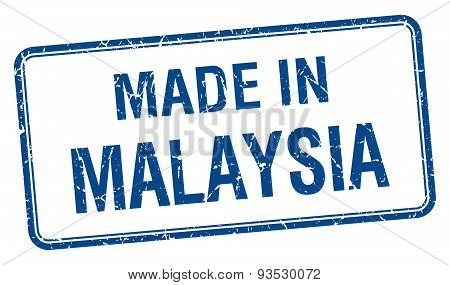 Made In Malaysia Blue Square Isolated Stamp