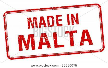 Made In Malta Red Square Isolated Stamp