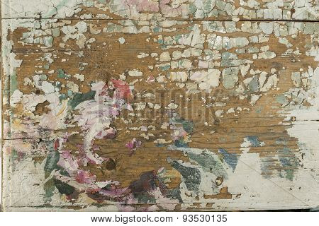 Colorfully Painted Old Wooden Surface