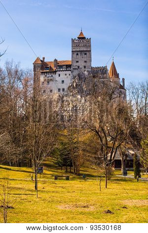 View from the back yard to Bran Castle, Romania, known for the story of Dracula