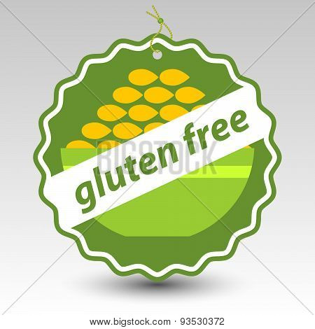 Vector Green Gluten Free Paper Price Tag Label With Bowl Of Wheat