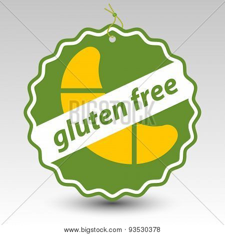 Vector Green Gluten Free Paper Price Tag Label With Roll Pastry