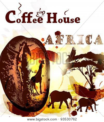 Grunge Coffee Poster With Coffee Grain, Spots And African Animals