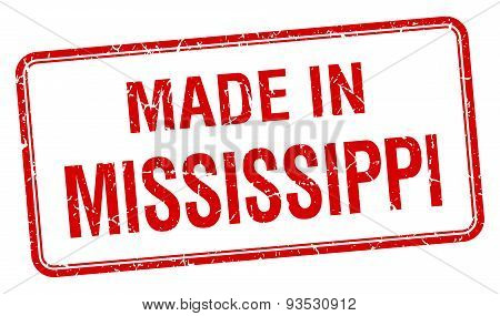 Made In Mississippi Red Square Isolated Stamp