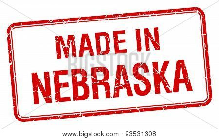Made In Nebraska Red Square Isolated Stamp