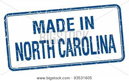 Made In North Carolina Blue Square Isolated Stamp