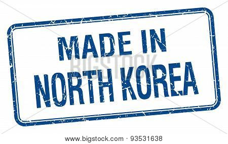 Made In North Korea Blue Square Isolated Stamp
