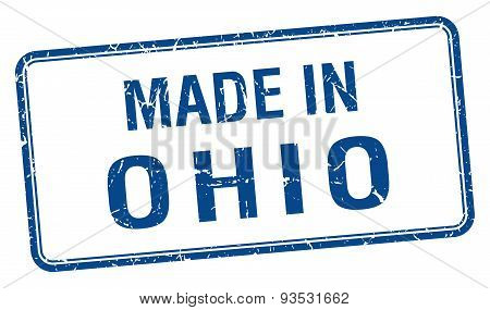 Made In Ohio Blue Square Isolated Stamp