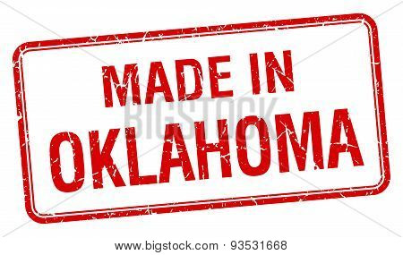 Made In Oklahoma Red Square Isolated Stamp