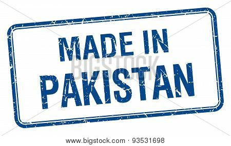 Made In Pakistan Blue Square Isolated Stamp