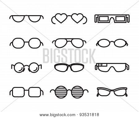 Line  glasses icons