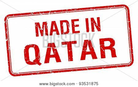 Made In Qatar Red Square Isolated Stamp