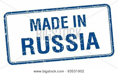 Made In Russia Blue Square Isolated Stamp