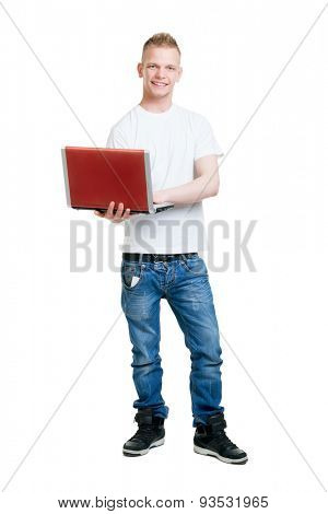 Pupil holding a notebook computer isolated on white