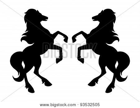 Rearing up horse silhouettes