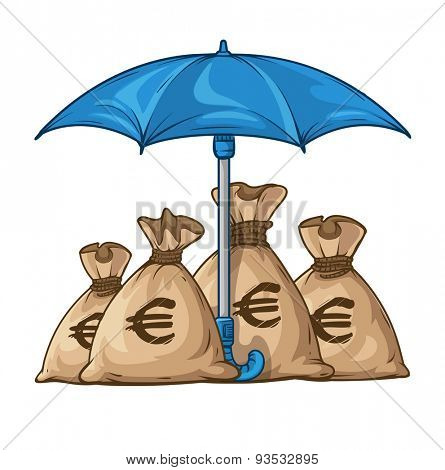 Umbrella protecting sacks with money currency dollar. Eps10 vector illustration. Isolated on white background