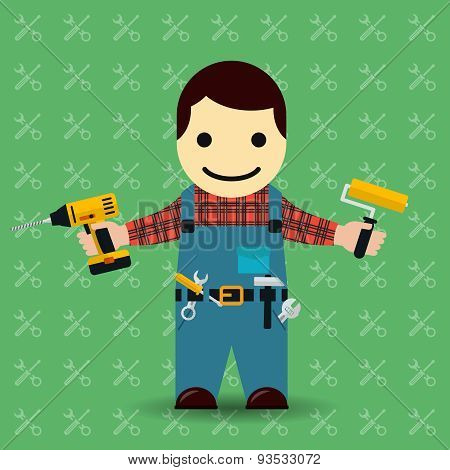 Handyman or mechanic vector illustration