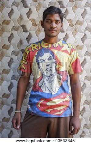 MUMBAI, INDIA - 11 JANUARY 2015: Indian man with superman t-shirt.