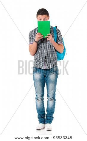 Boy student with books, isolated on white background