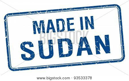 Made In Sudan Blue Square Isolated Stamp