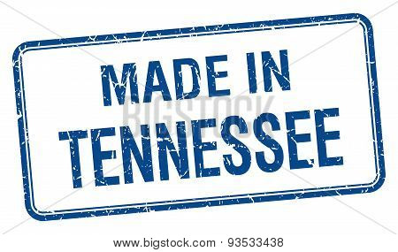 Made In Tennessee Blue Square Isolated Stamp
