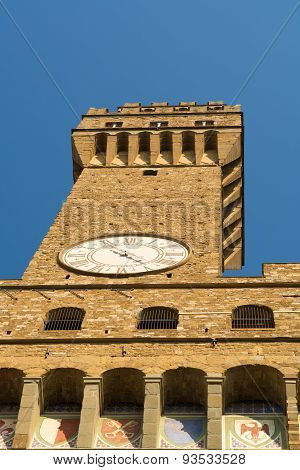 The Clock Tower Of The Palazzo Vecchio In Florence