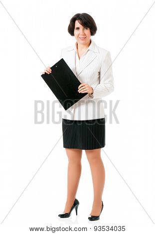Young woman holding a clipboard, isolated on white background