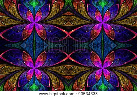 Multicolored Symmetrical Pattern In Stained-glass Window Style. On Black.