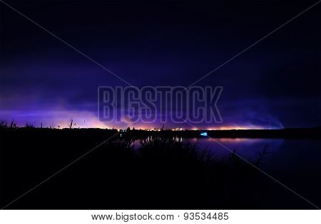 Night Coastline, View On The Town Of Kryvyi Rig From The River.