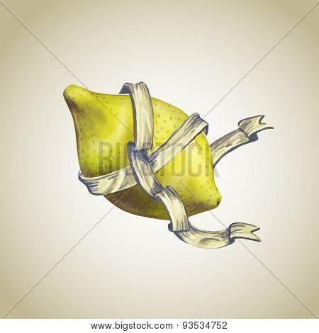 Lemon  With Heraldic Ribbon