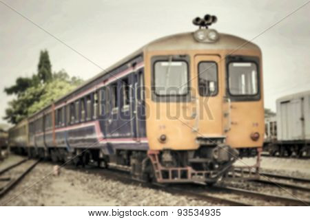 Blurred Of Old Train And Railroad