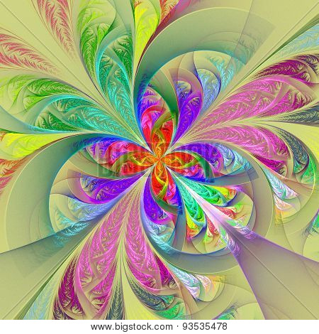 Diagonal Symmetric Multicolored Fractal Tracery. Collection - Frosty Pattern. On Yellow.