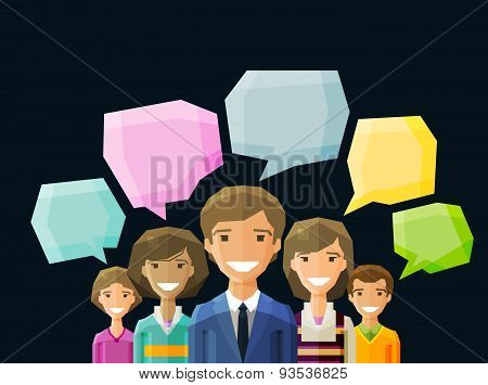 Brainstorming, conversation, talk, chat vector logo design template. people, folk or discussion, dia