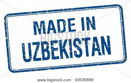 Made In Uzbekistan Blue Square Isolated Stamp