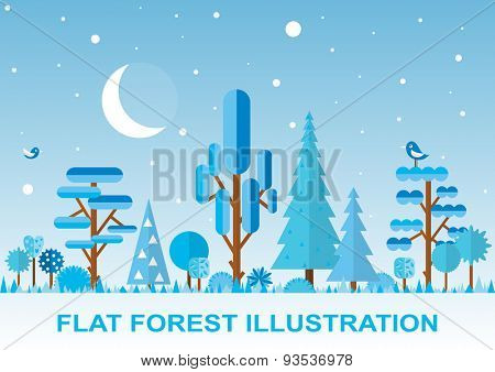 Flat winter vector forest illustration,  night