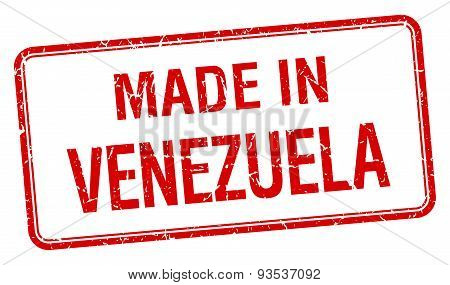 Made In Venezuela Red Square Isolated Stamp