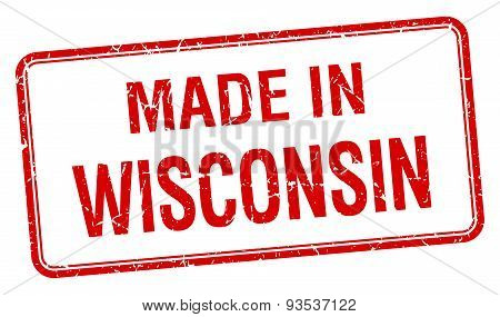 Made In Wisconsin Red Square Isolated Stamp