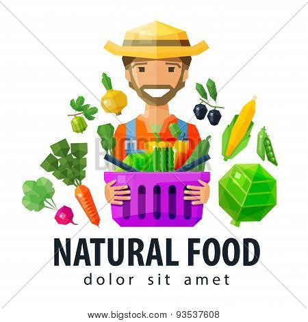 fresh food vector logo design template. vegetables and fruits, gardening, horticulture, farm  or far