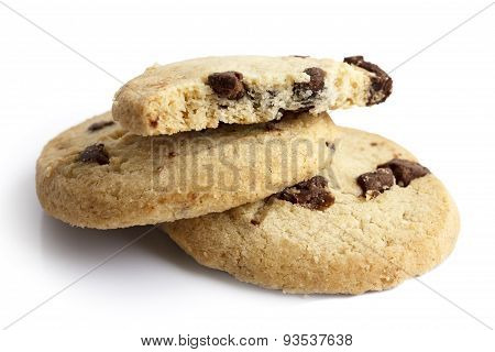 Round chocolate chip shortbread biscuits.