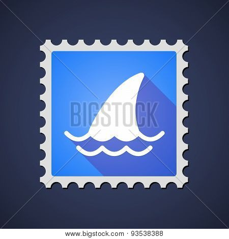 Blue ,ail Stamp Icon With A Shark Fin