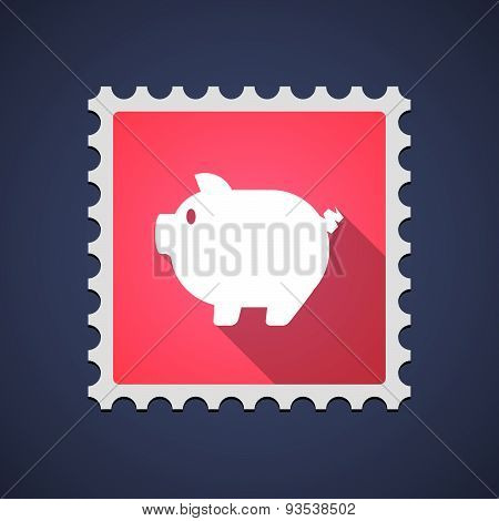 Red Mail Stamp Icon With A Pig