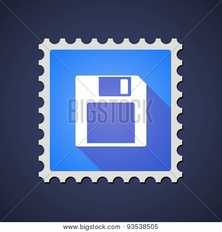 Blue ,ail Stamp Icon With A Floppy Disk