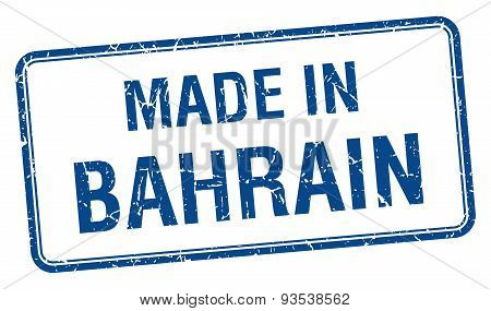 Made In Bahrain Blue Square Isolated Stamp