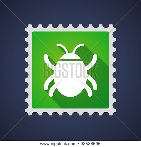 Green Mail Stamp Icon With A Bug