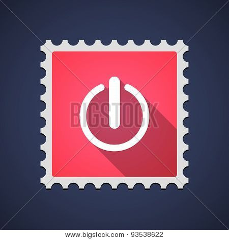 Red Mail Stamp Icon With An Off Button
