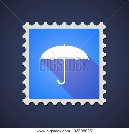 Blue Mail Stamp Icon With An Umbrella