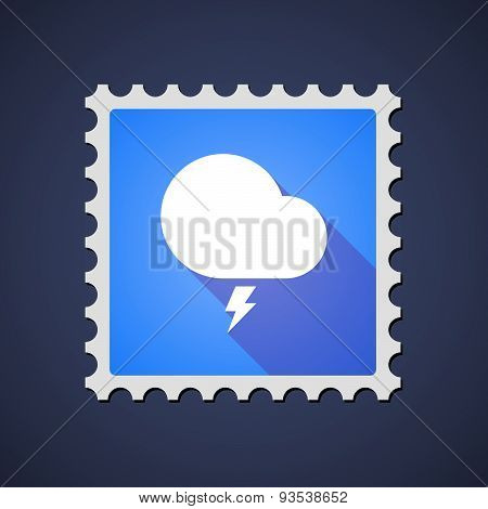 Blue Mail Stamp Icon With A Stormy Cloud